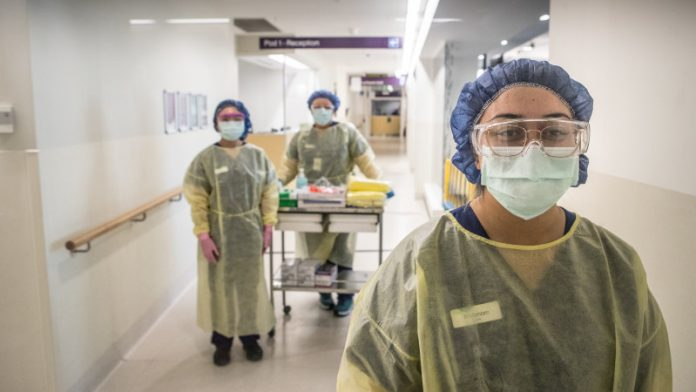 Cleaning staff at Sydney hospital